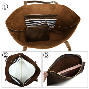 "416dd9d1f237 Iswee Women Full Grain Leather Large tote 17"" Laptop Bag Vintage Brown  Shoulder Handbag 3 Pieces Sets Bag Removable Pouch Bag"