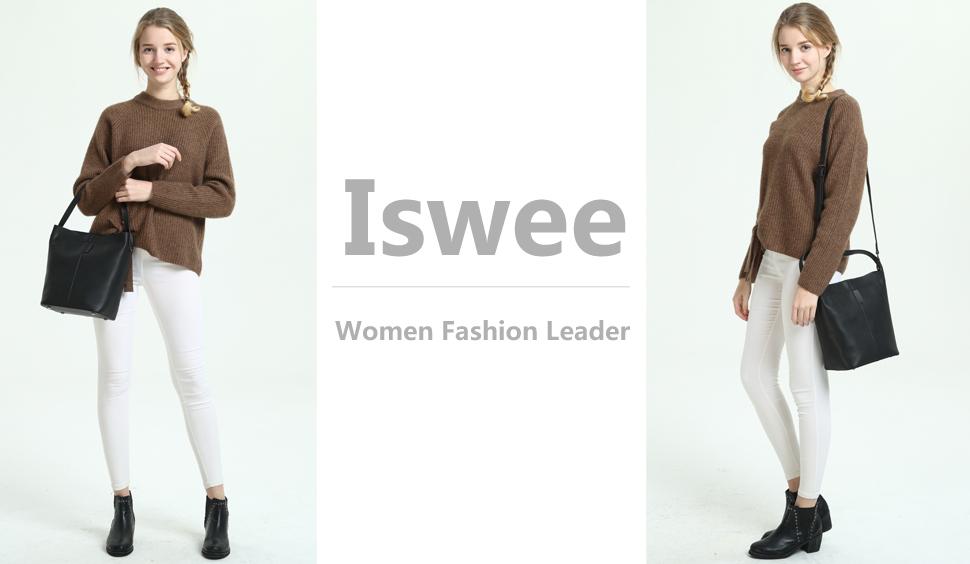 f8e67e4ffa74 Iswee Fashion Leather Bucket Bag Shoulder Bags Cross Body Hobo Tote Satchel  Handbags for Women