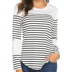 6727fb28d015b Women Tops Long Sleeve Tee Shirt Striped Cotton Knit T-Shirt Soft ...