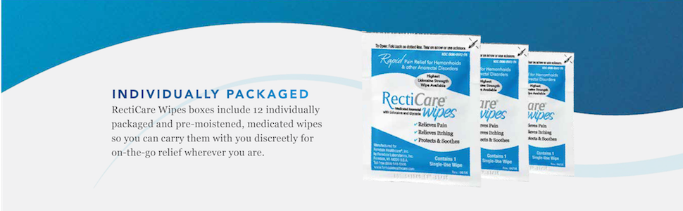 individually packaged recticare wipes pre-moistened medicated wipes discreet relief on the go