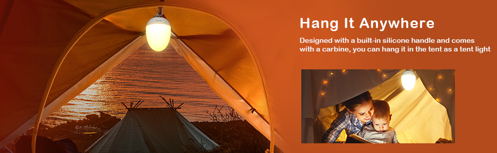 Designed with a built-in silicone handle and a carbine, you can hang it in the tent as a tent light