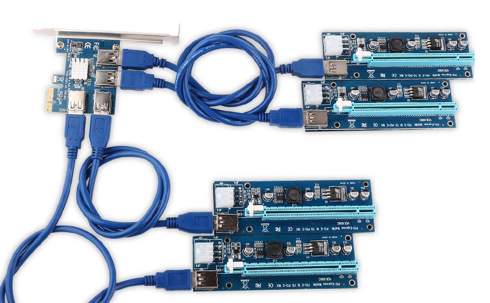 Amazon.com: Ubit 4 in 1 PCI-E Riser Adapter Board + 6 PIN 16x to 1x ...
