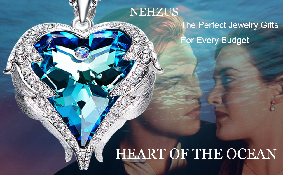 71980905758bf NEHZUS Heart of the Ocean Love Heart Pendant Necklace for Girlfriend Love  Wife,Crystal from Swarovski