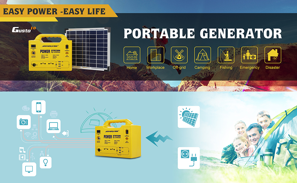 Portable Generator Power Station with 256Wh/ 250W Lithium Battery, 12V DC/110V AC Outputs, USB, Lighting, Car Lighter Ports for Emergency, Camping & Outdoor Activities – Monerator Gusto 20