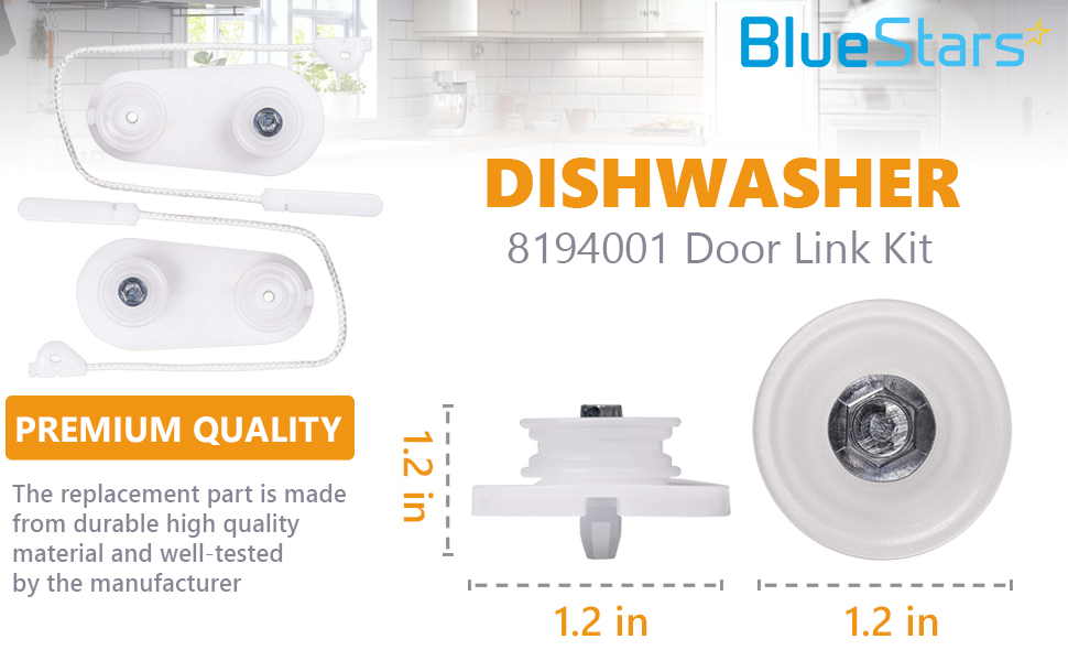 Ultra Durable 8194001 Dishwasher Door Balance Link Kit by Blue Stars- Exact Fit for Whirlpool Kenmore & KitchenAid Dishwashers - Replaces 1059756 ...