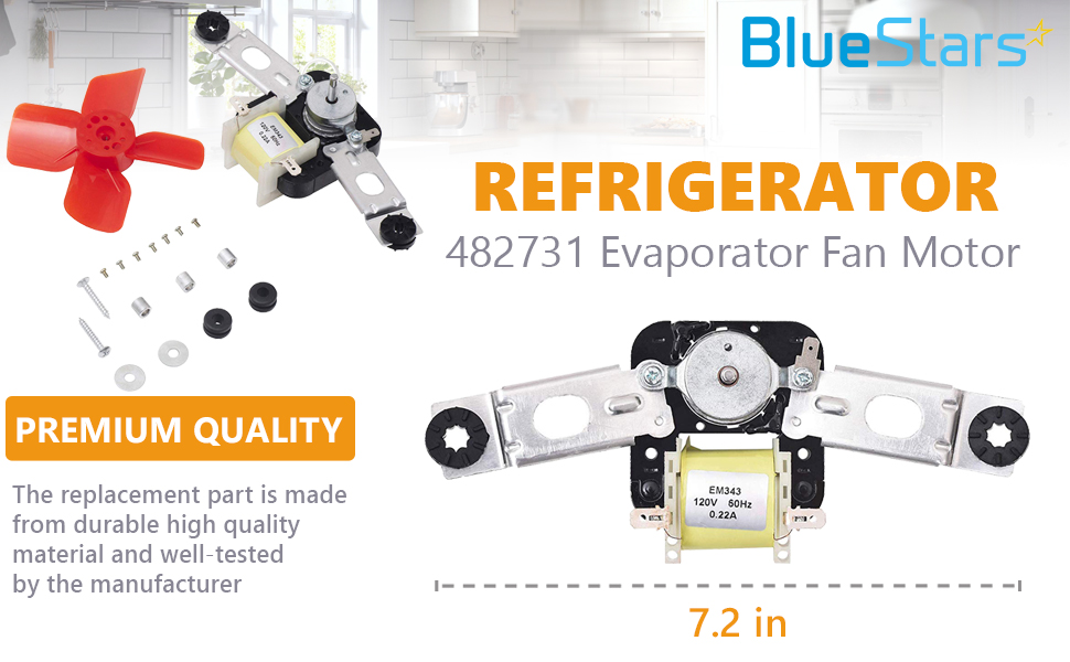 Evaporator Freezer Fan Motor W// Blade KitchenAid Whirlpool Kenmore Refrigerator
