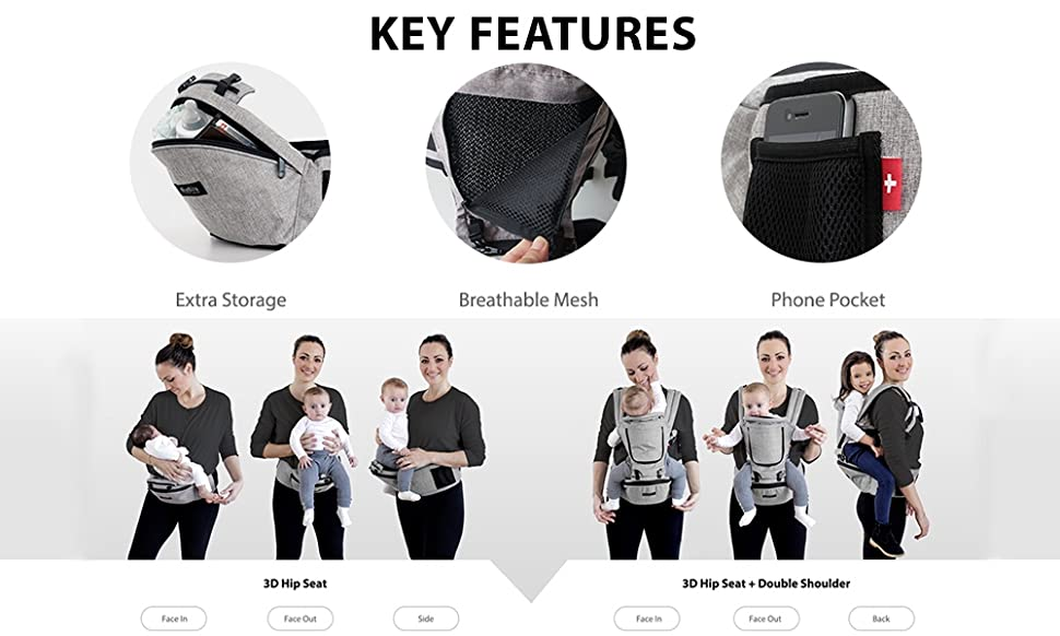 9f1a9a33df6 The HIPSTER PLUS is a versatile carrier that allows you to carry your baby  9 different ways. It is a unique