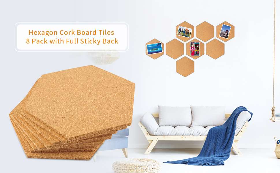 Amazon Com Famistar Hexagon Cork Board Tiles 8 Pack With Full