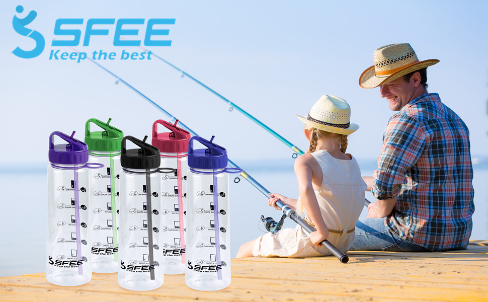 Sfee 30oz Water Bottle with Time Marker Motivational Sports 900ML//30OZ Black