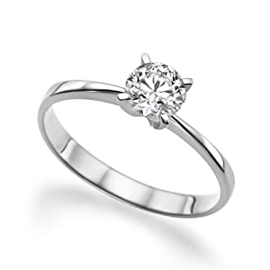 e6c853ecef840 Moissanite Forever One GH VS 5MM Engagement Ring 14K Gold / Round Cut  (0.39ct actual, 0.5ct diamond equivalent weight)