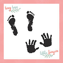 baby's hand and foot prints page in all about me baby journal