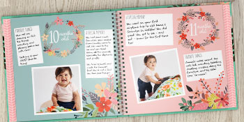 rubyroo baby first year memor book open to pages showing monthly milestones