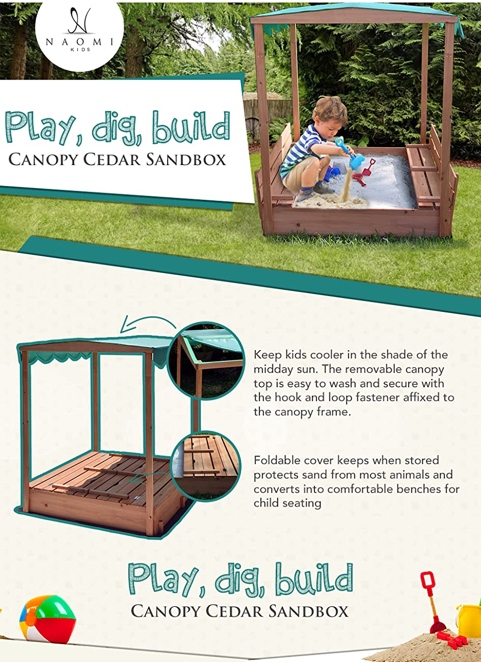 Amazon.com: Naomi Home Kids Canopy Cedar Sandbox with 2 Convertible ...