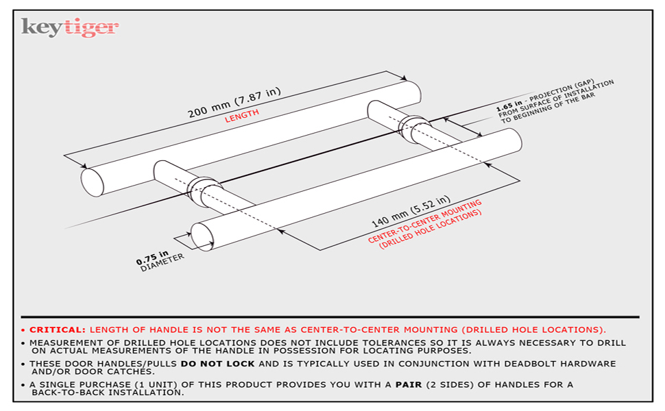 Pull Handle Stainless Steel Rod Straight Front Door round Diameter 30 mm