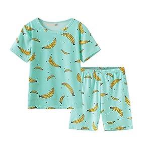 03dbc8a2a Amazon.com  MyFav Girls Cute Banana Summer Pajama 2 Pieces Casual ...
