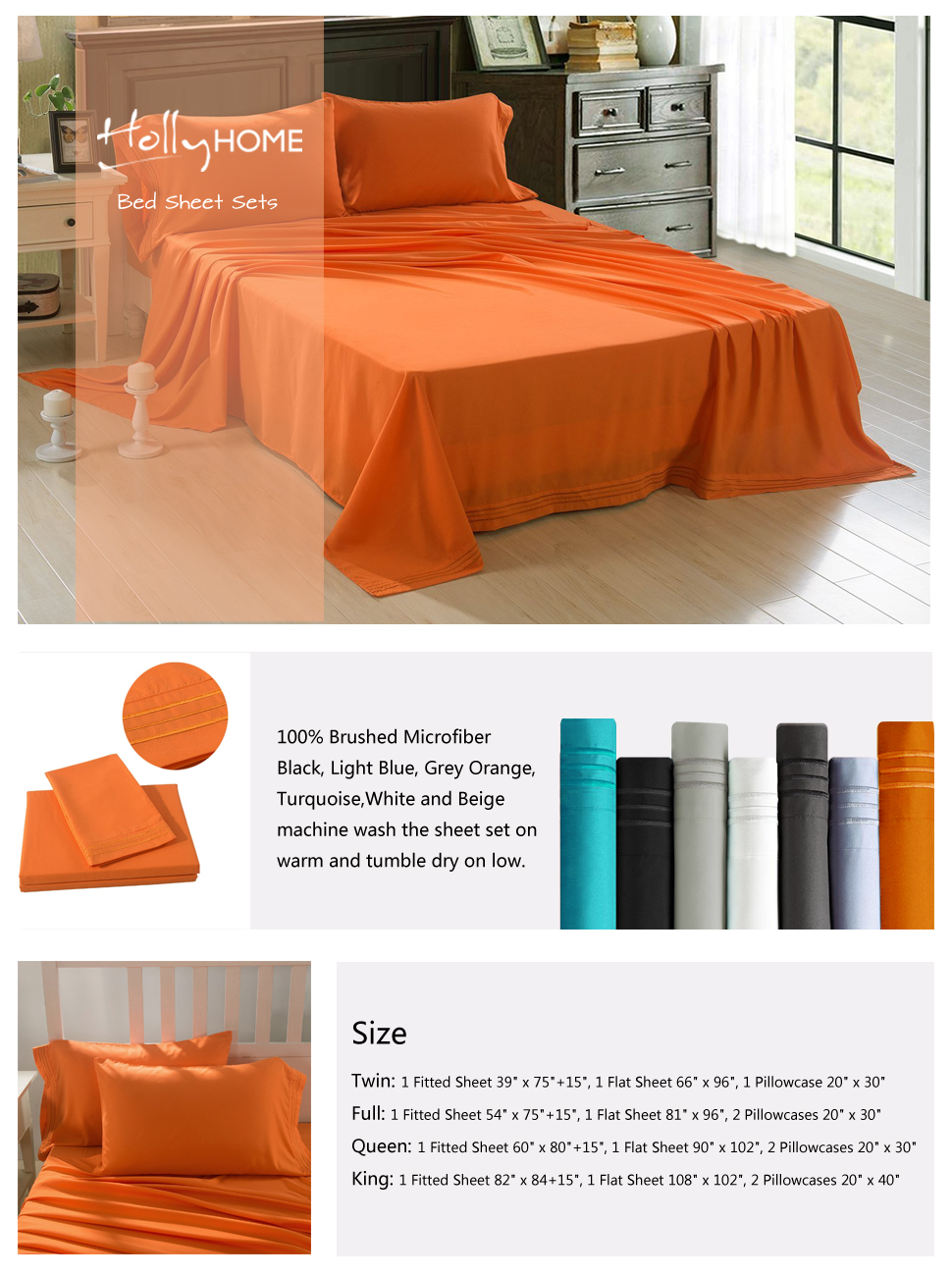 HollyHOME Collection 4 Pieces Ultra Soft Embroidered Bed Sheet Sets Orange