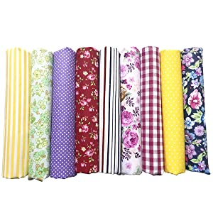 levylisa 50pcs Printed Cotton Quilting Fabric Assorted Craft Fabric Bundle Squares Patchwork Precut Fabric for DIY Craft Embellishment Sewing Scrapbooking Quilting 8/'/'x8/'/'