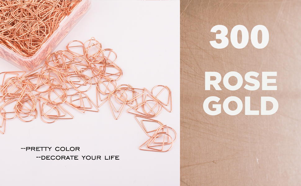Premium Cute Rose Gold Smooth Stainless Steel Wire Small Paper Clips for Office Supplies Girls Kids