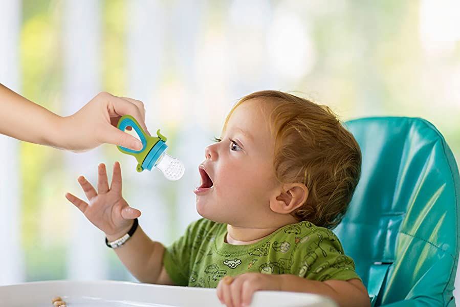 Fresh Food & Fruit Feeding Pacifier – 3 Different Sized Silicone Teething Pacifiers | Great Baby Nibbler...