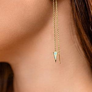 dagger opal threader earrings 14k gold dipped fashion earrings for women