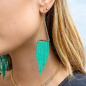 turquoise beaded dangle drop tassel statement earrings for women