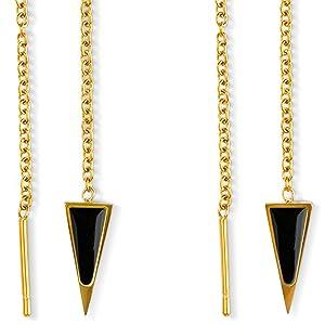 dagger threader fashion earrings for women black onyx