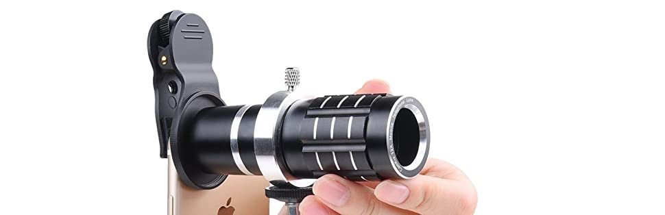 Awesome Mobile Photography for Apple iPhone Samsung Galaxy etc Adjustable Tripod Wide Angle Lenses Macro - Locking Lens Clip for Telephoto Lens Universal 3in1 Lens Kit with 12x Telephoto