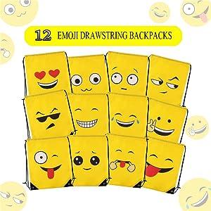 Amazon.com: Emoji Cordón Mochila Bolsas, 12 piezas fiesta de ...