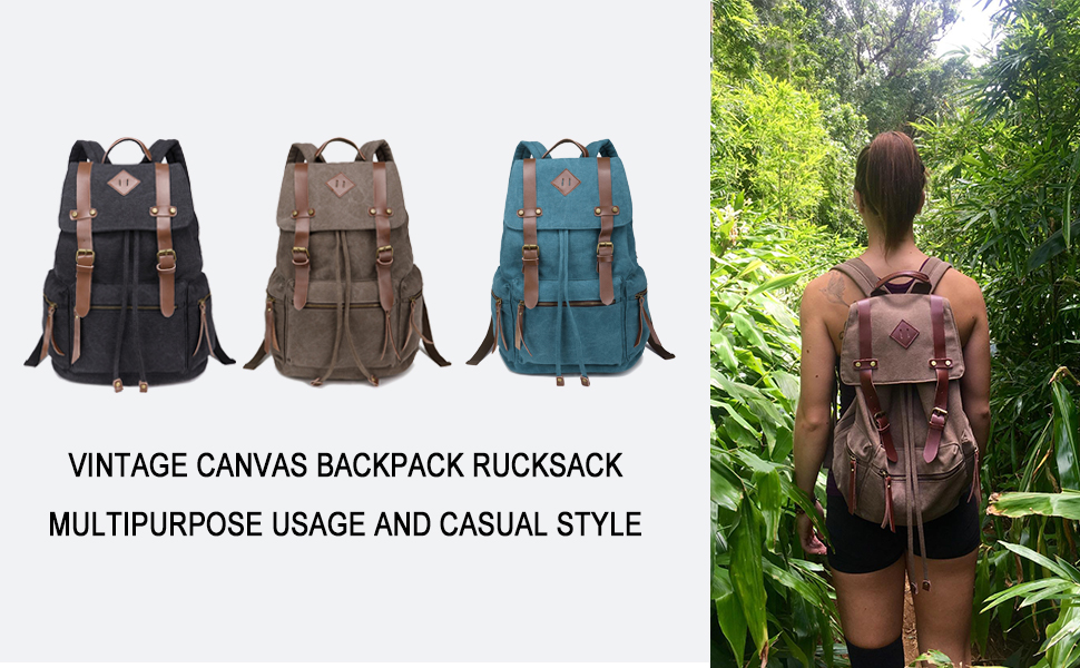 BeautyWill Vintage Canvas Backpack Rucksack for School Travel Hiking dae6a0ddca7f