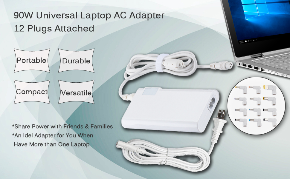 Amazon.com: Universal Laptop Charger 90W Portable Slim ...