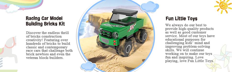 212 PCs Building Blocks Car Toys, Set of 6 Race Car Building Kits for Kids  Prizes Toys, Goodie Bag Stuffers, Halloween Party Favors