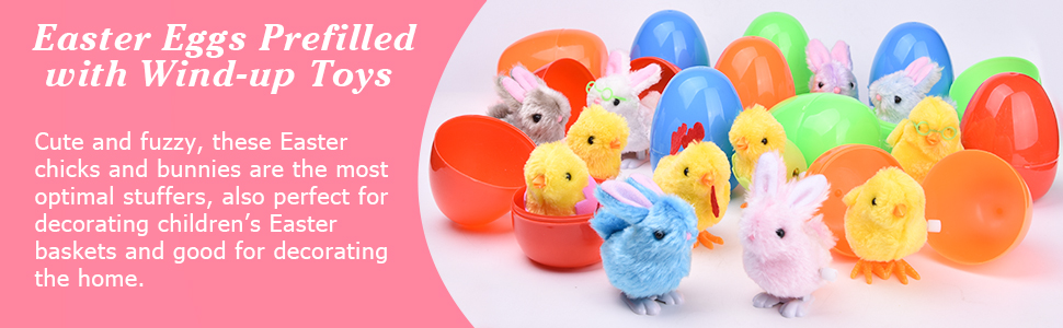 Classroom Events Easter Party Favors Easter Eggs 10Pcs Filled with Wind-Up Rabbits and Chicks for Easter Basket Stuffers Easter Egg Hunt