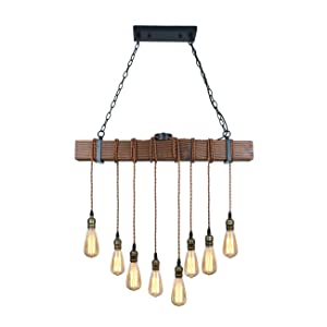 Unitary brand rustic black wood hanging multi pendant light with 8 this item is a 8 bulb sockets pendant light bulbs not includedalso be an island light it is suited to install in dining room or above the table greentooth Image collections