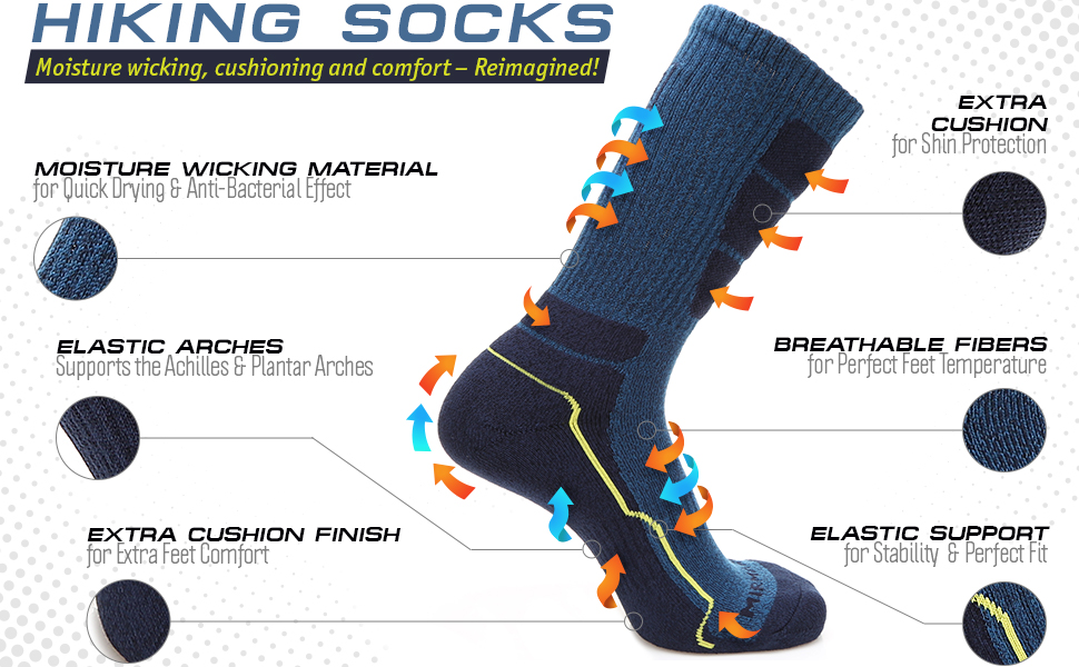 Moisture Wicking Anti-Bacterial Achilles Support Arch Support Shin Protection Extra Cushion
