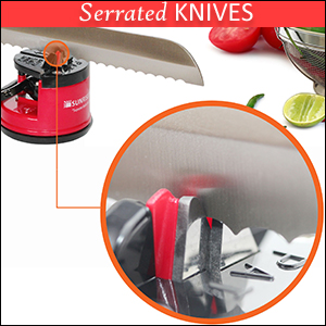 This Product Is Unlike Many Other Knife Sharpeners In That It Works On Serrated Knives Including Bread And Hunting