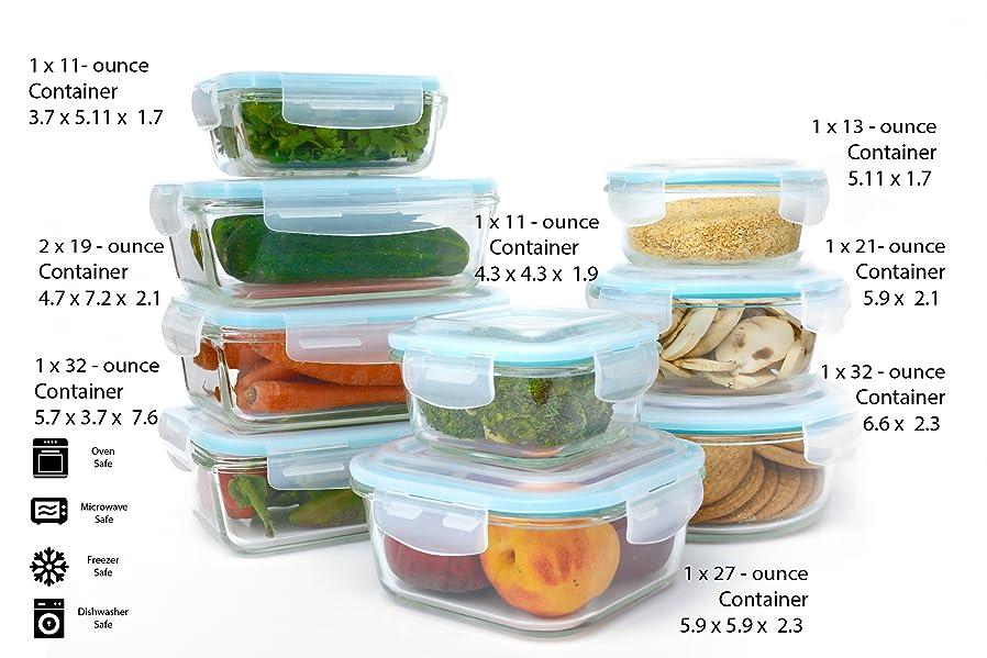 Amazon.com: Glass Food Storage Container Set - 18 Piece