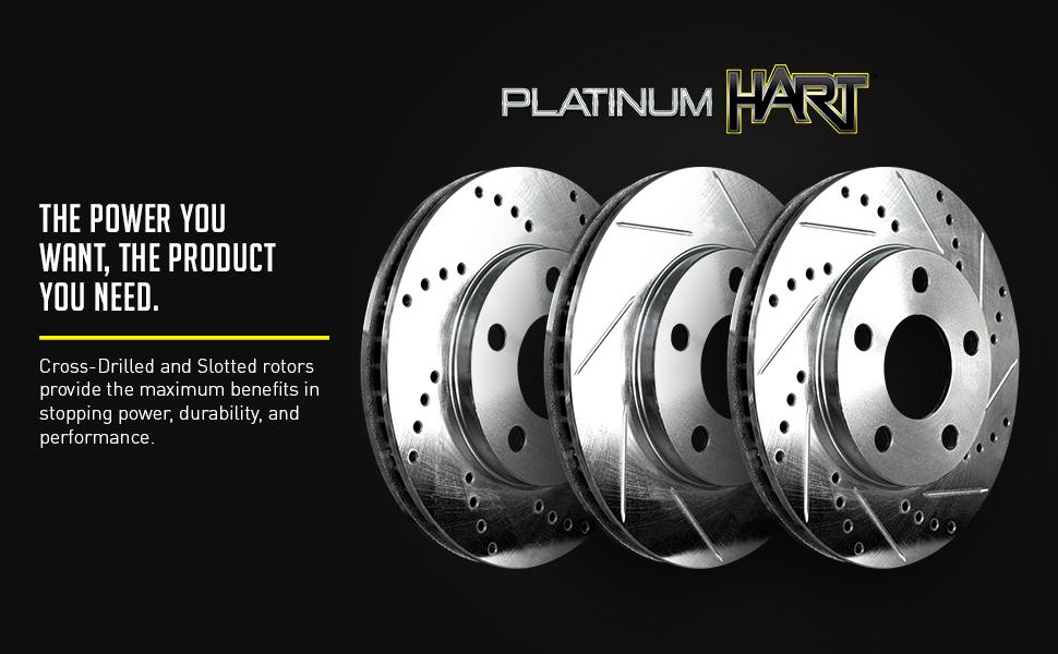 Platinum Hart *DRILL /& SLOT* Brake Rotors CERAMIC Pads 1263 FRONT+REAR KIT