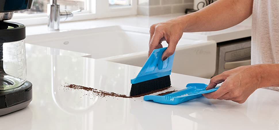 miniWISP Small Broom and Dustpan Set The Best Mini Hand Broom with  Electrostatic Bristle Seal Technology (Blue)