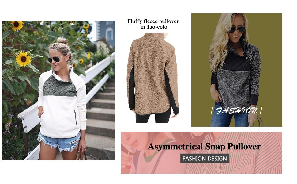 08a6156e37 AlvaQ Women Stand Collar Buttons Fleece Pullover Sweatshirt Pockets ...