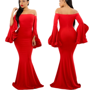 49898996f8a4 AlvaQ Women Off Shoulder Bell Sleeves Party Evening Gown Mermaid Maxi Dress- Red