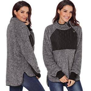9446c9b4c8 AlvaQ Fuzzy Fleece Button Neck Asymmetrical Coat Sweatshit Outwear Tops -Black
