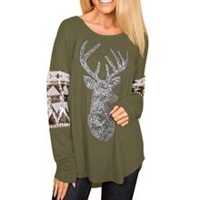 f85370463ad AlvaQ Women Christmas Loose Long Sleeve Front Sequin Deer Tops ...