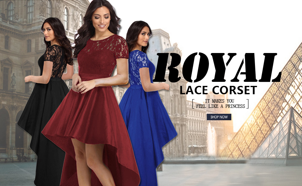 Lace Bodice Elegant Hi-low Party Dress that will make you feeling like a princess!She offers little stretch and includes a back zipper closure.