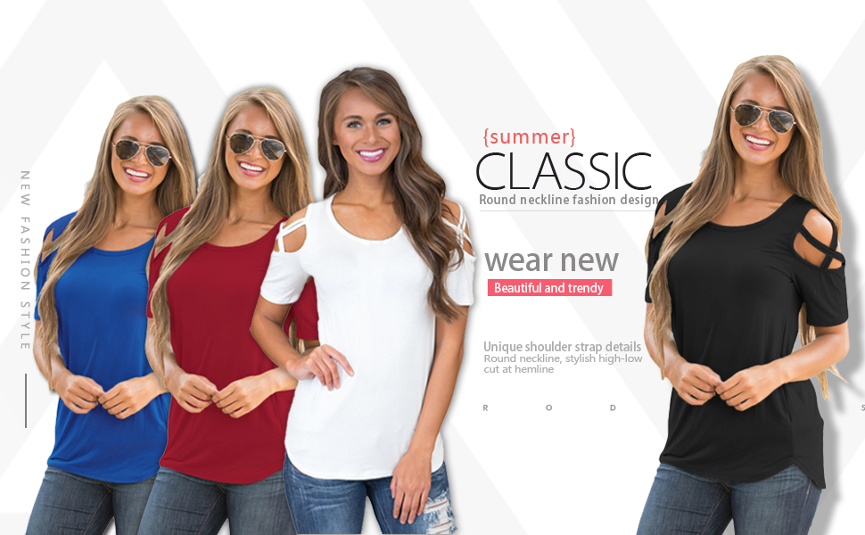 727eea01dc94 AlvaQ Women Summer Short Sleeve Strappy Cold Shoulder T-Shirt Tops ...