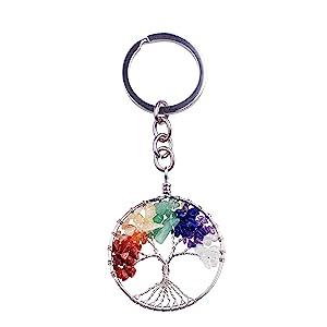 Joya Gift Tree of Life Keychain Natural Crystal Stone Handmade DIY Keychain Charm Pendant Necklace
