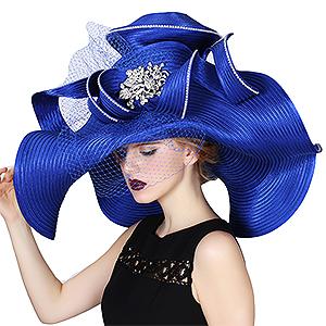 143c87ccbb327 June s Young Women Hat Large Brim Blue Color Church Wedding Dress ...