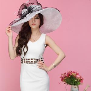89662800d2d June s Young Women Hats Summer Big Hat Wide Brim Top Flower White ...