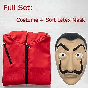 Angelaicos Unisex Dali Mask Red Costume for La Casa De Papel Coverall Jumpsuits
