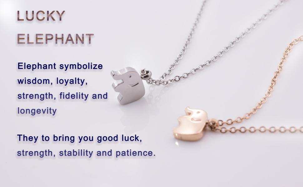Amazon.com: Elephant Pendant Necklaces Silver-Tone Minimalist ...