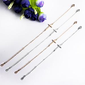 Silver rose gold Sideways Cross Bracelet